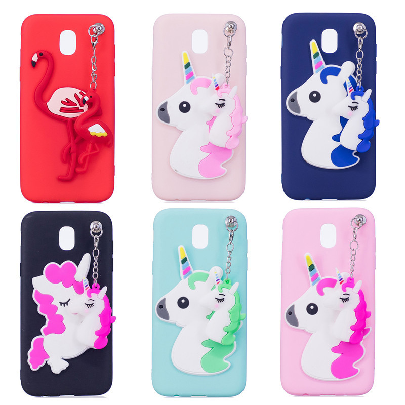 Galleria fotografica Wekays Case For Samsung Galaxy J3 2017 J330 J5 2017 J530 J7 2017 J730 Cute Cartoon 3D Unicorn Flamingo TPU Fundas Cover Cases