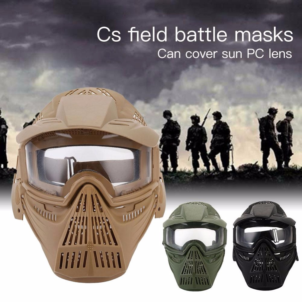 WoSporT Tactical Breathable Full Face Mask CS Hunting Military Army Lens Mask Airsoft Protection Masks Paintball Accessories