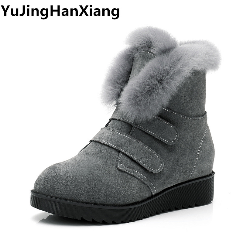 Cow Suede Leather Winter Boots Ladies Rabbit Fur Women Ankle Boots Flat Heel Winter Shoes Women Big Size 41 42 43 Woman Boots цены онлайн