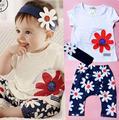 2017 bebe девочка комплект одежды летние дети бренд ребенок наборы малышей девушка одежда наборы с лентой милый костюм 3 шт