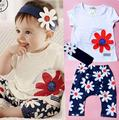 2017 bebe baby girl clothing set summer children brand baby sets toddler girl clothing sets with hairband cute suit 3 pcs