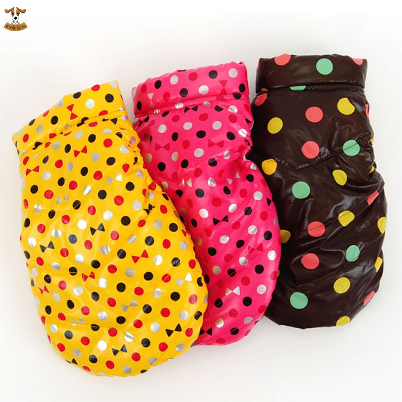 2015 Fashion Polka Warm Pet Dog Clothes Small Waterproof Dog Coat Jacket Winter Quilted Padded Vest Clothing for Puppy Chihuahua