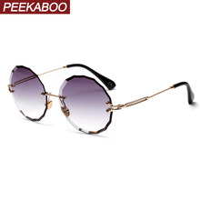 34ed546c6c Peekaboo redondo azul gafas de sol para mujer lente claro 2019 estilo de  verano marrón gafas de sol retro femenino artículos de .