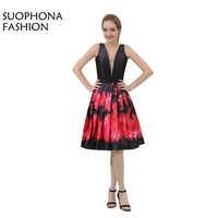 Nouvelle Arrivée En Stock V cou Genou longueur Cocktail robes 2017 robe de festa curto Noir Rouge parti robes robe de festa