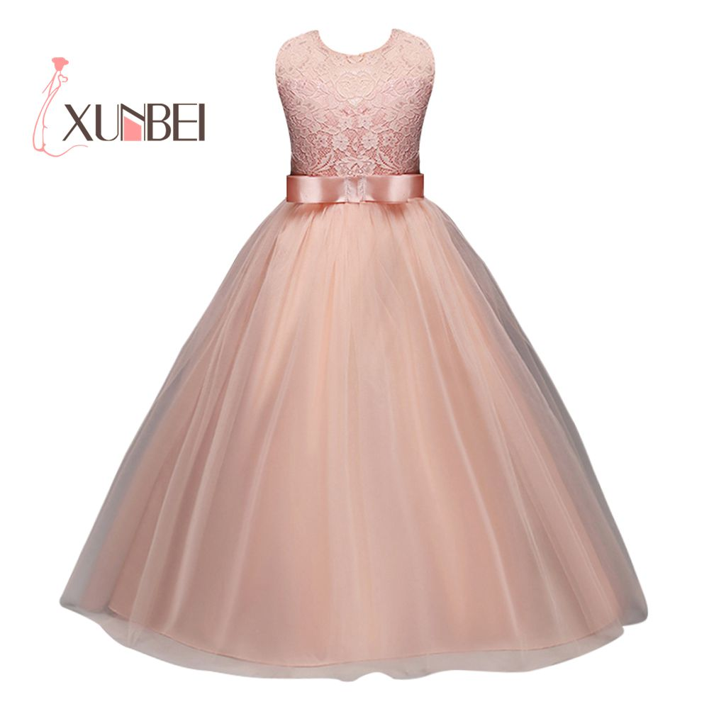 Princess Pink Lace Flower Girl Dresses 2018 Tulle Girls Pageant Dresses First Communion Dresses Kids Evening Gowns  ...