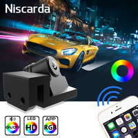 Niscarda 2PCS LED RGB APP Control Angel Wings Welcome Lights Car Courtesy Shadow Ghost Door Lamp Phone Bluetooth Projector