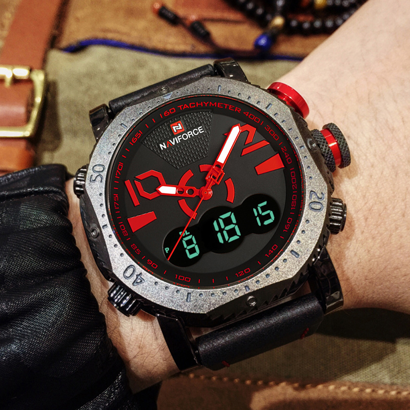 NAVIFORCE Men Sports Watches Fashion Digital LED Analog Quartz Dual Display Watch Men's Waterproof Clock Male Relogio Masculino цена 2017