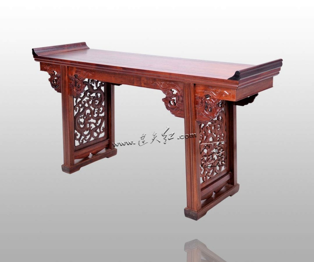 Dragon Grain Head Desk Burma Rosewood Rectangle Office Table Chinese Classical Antique Commerical Furniture Painting Book Case