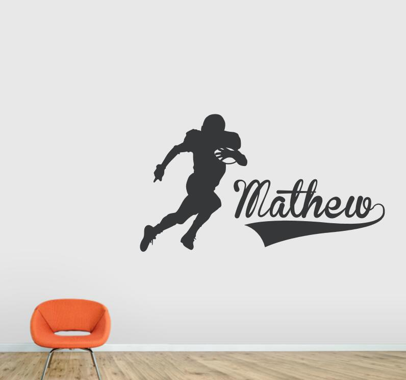Sports Decals Football Player Wall Art Decal Home Decor Living Room Vinyl Custom Any Name Wall Stickers Sport Kids Room