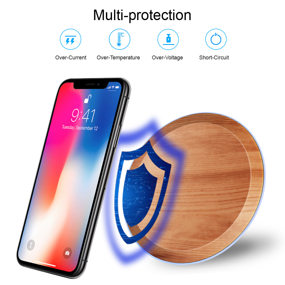CinkeyPro Wood Wireless Charger Pad with LED Light 5W Charging for iPhone 8 X Samsung XiaoMi Charge Mobile Phone USB QI Device 4