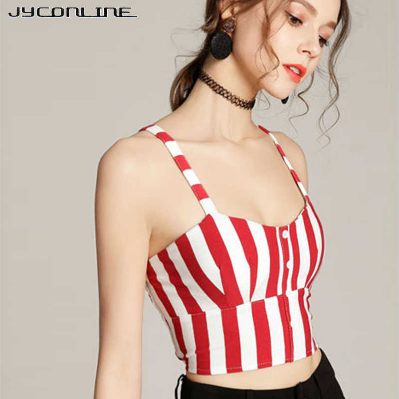 JYConline Red Striped Sexy Crop   Tops   Women Fashion Buttons Bustier   Tank     Tops   Cropped Camis 2018 Summer Sexy Padded Crop   Tops   XXL