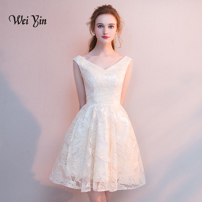 Weiyin Lace Short Cocktail Dresses V Neck Sleeveless Mini Party Gown Women Vestidos De Coctel Elegantes Robe Cocktail WY879