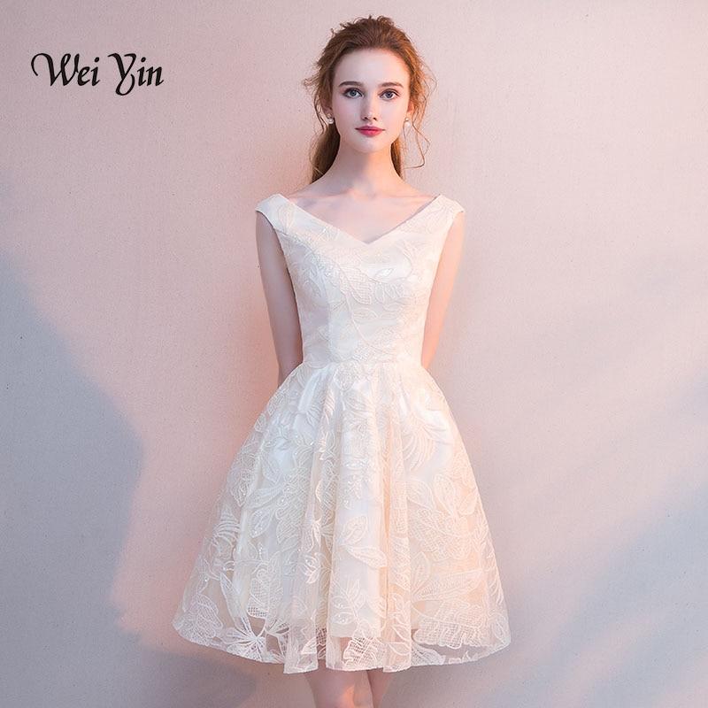 weiyin Lace Short Cocktail Dresses V Neck Sleeveless Mini Party Gown Women Vestidos De Coctel Elegantes Robe Cocktail WY879