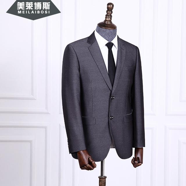 As novas 2016 ternos de dois grãos de fivela high-grade dos homens vestido de casamento do noivo Cinza two-piece