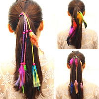 Profession Bohemian Wind Color Girl Feather Headband New Hand Weaving Hair Accessories Holiday Beach Vacation Styling Accessory