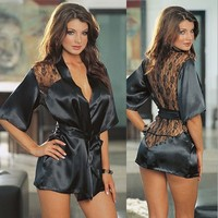 Sexy Lingerie Lace GownSexy Women Sexy Sling Robe Perspective Lace Girl Wholesale Negligee KO248