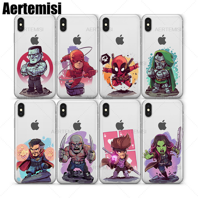 brand new 57e49 c0b28 US $3.98 |Aertemisi Clear TPU Case Cover for iPhone X XS Max XR Captain  Marvel Carnage Colossus Daredevil Deadpool Doctor Doom Strange-in Fitted  Cases ...