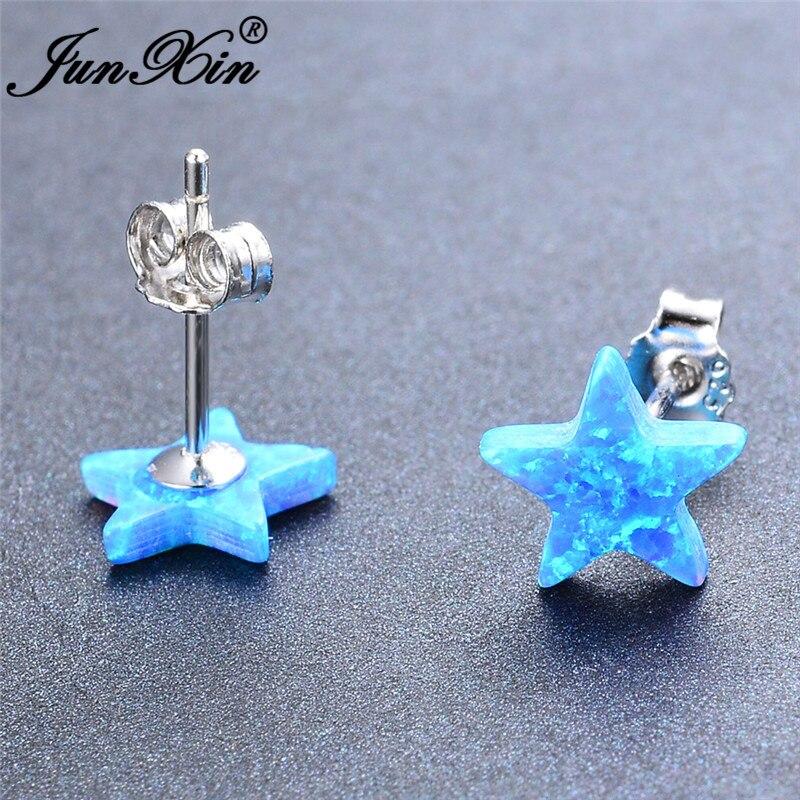 Cute Small Star Stud Earrings White Gold White Blue Fire Opal Earrings For Women Wedding Minimalist Earring Studs Jewelry