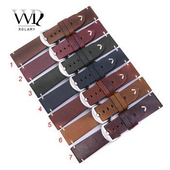 Rolamy 22 24 millimetri Top Reale di Cuoio di Ricambio Watch Band Strap Cintura con Vite Fibbia Per Panerai Tudor IWC Fossile tag Heuer