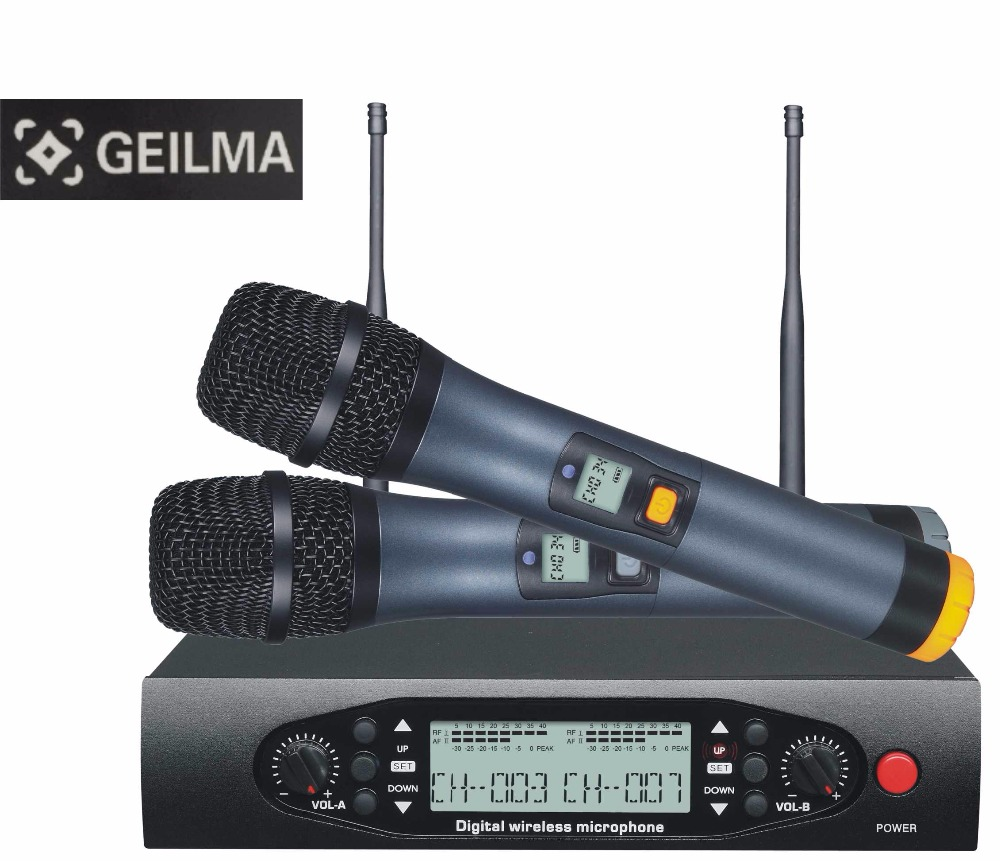 UHF Wireless Microphones with Screen 100M Distance 2 Channel Handheld Mic System Stage Karaoke Wireless Microphone freeboss m 2280 50m distance 2 channel headset mic system karaoke party church uhf wireless microphones