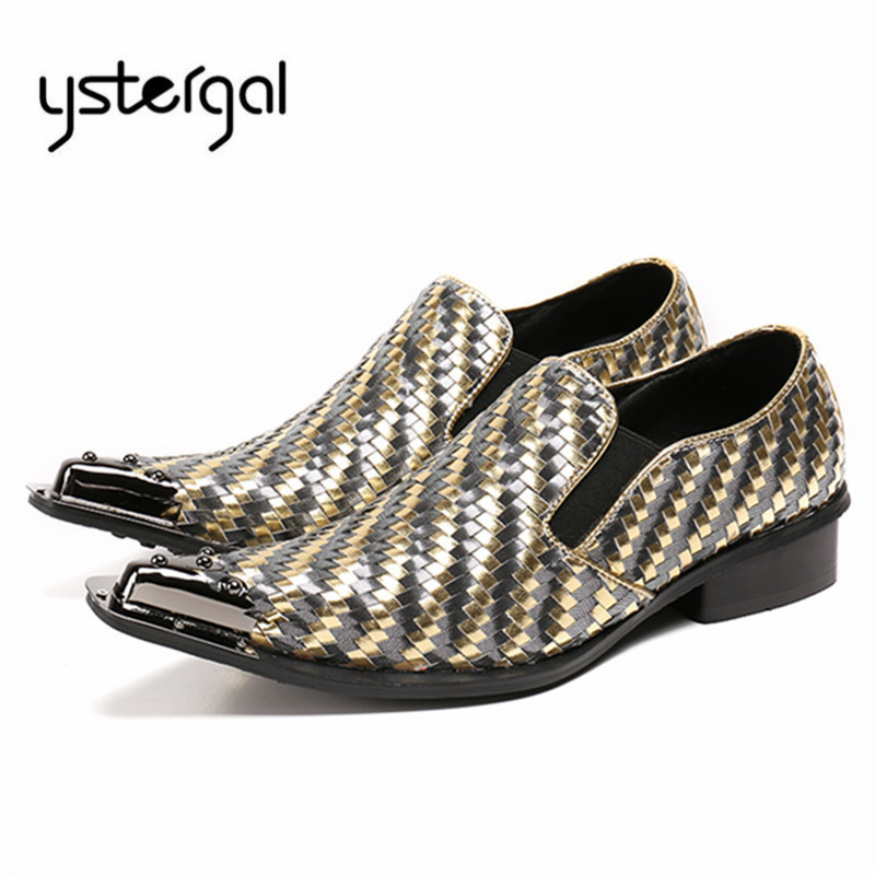 YSTERGAL Handmade Weave Metal Pointed Toe Men Formal Leather Shoes Wedding Shoe Slip On Prom Dress Flats Mens Oxford Shoes choudory summer dress crocodile skin shoes men breathable prom shoes full grain leather pointy mens formal shoes shoe lasts