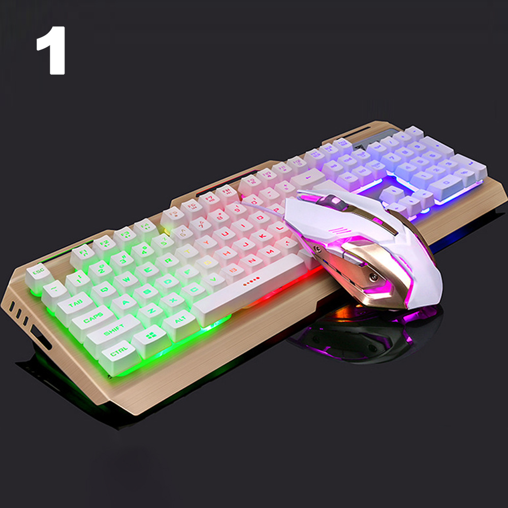 Cewaal Full Size Seven-Color Breathing Light Keyboard and Mouse Set Backlit Mechanical Set Touch Gaming Keyboard Wired USB