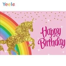 Yeele Vinyl Rainbow Golden Unicorn Baby Birthday Party Photography Backdrops Children Photographic Backgrounds For Photo Studio