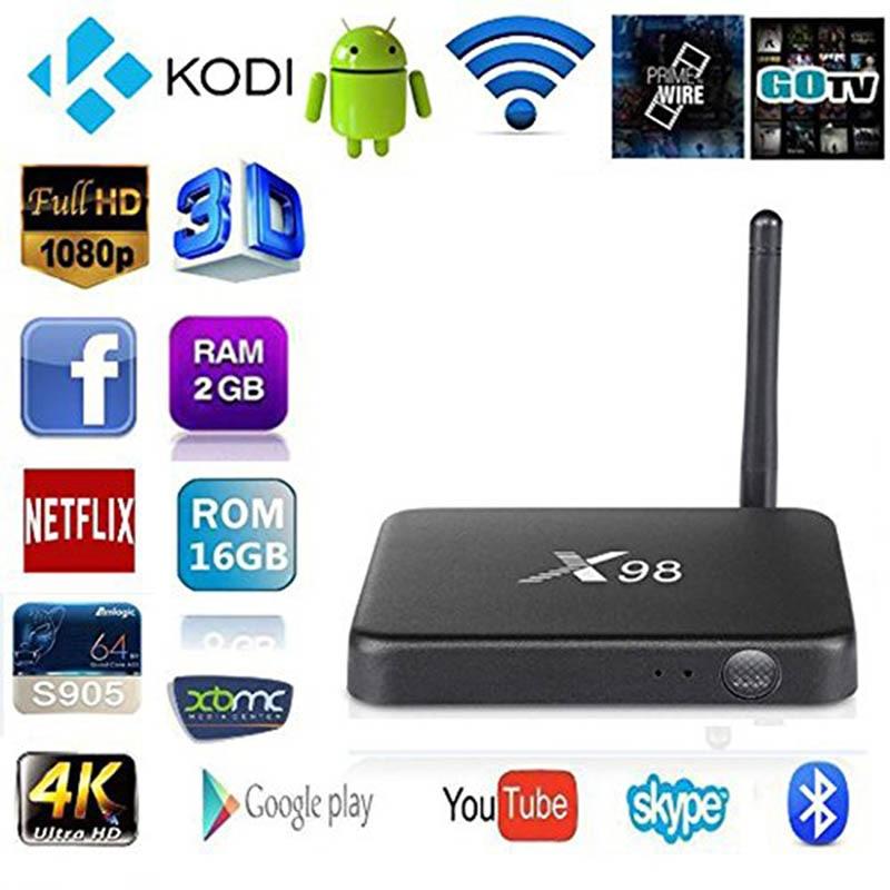 2GB/16GB X98 Quad Core Smart Android 5.1 TV Box 4K UHD 1000M LAN Bluetooth 4.1 Dual Band 2.4GHz/5GHz WiFi Kodi 16.0 Media Player