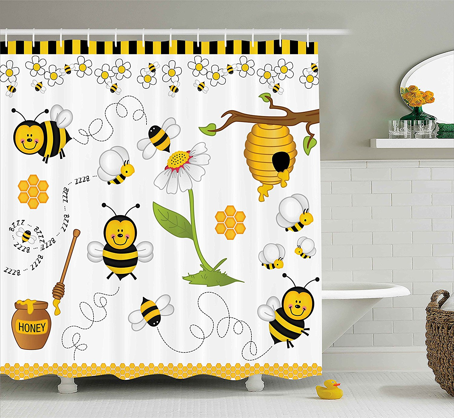 Collage Decor Shower Curtain Flying Bees Daisy Honey Chamomile Flowers Pollen Spring Themed Animal Print Bathroom Set In Curtains From Home Garden