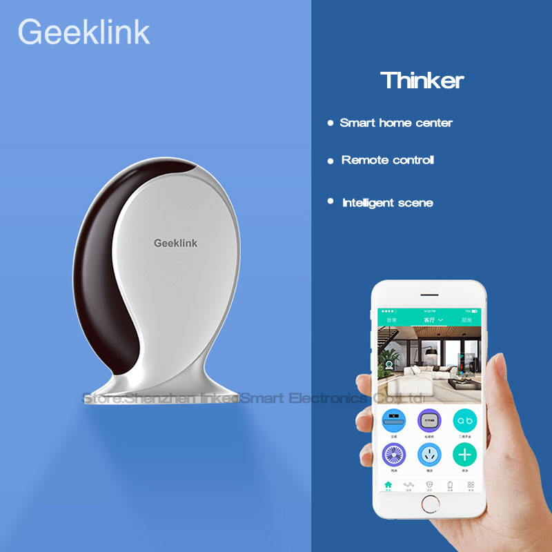 Geeklink Thinker Universal Remote Controller,Router+WIFI+IR+RF,Wireless Control 433 Switch by IOS Android Smart Home Automation broadlink us tc2 wifi touch switch 3gang 110 220v for rm2 rm pro universal remote controller wifi ir rf wireless control 433 315