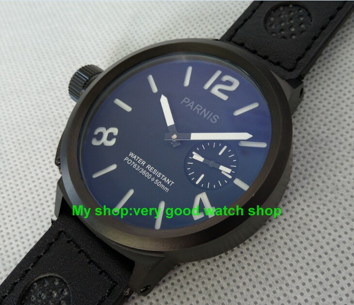 limited edition watch 50mm Big dial PARNIS men's watch Asian 6498 Mechanical Hand Wind PVD black watchcase 84AA limited edition watch 50mm big dial parnis men s watch asian 6498 mechanical hand wind pvd black watchcase 84aa
