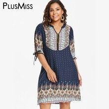 2ff93ce267 PlusMiss Plus rozmiar etniczne druku Boho zimno ramię luźna sukienka XXXXL  XXXL XXL kobiety duży rozmiar sukienki Polka Dot 5XL .