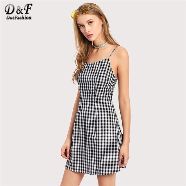 9f4ae334cb8 Dotfashion Open Back Princess Seam Gingham Cami Dress 2017 Female Spaghetti  Strap Dress Sleeveless Lace Up Short Dress