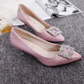 Free shipping spring new diamond square buckle shoes shallow mouth low-heeled shoes OL work