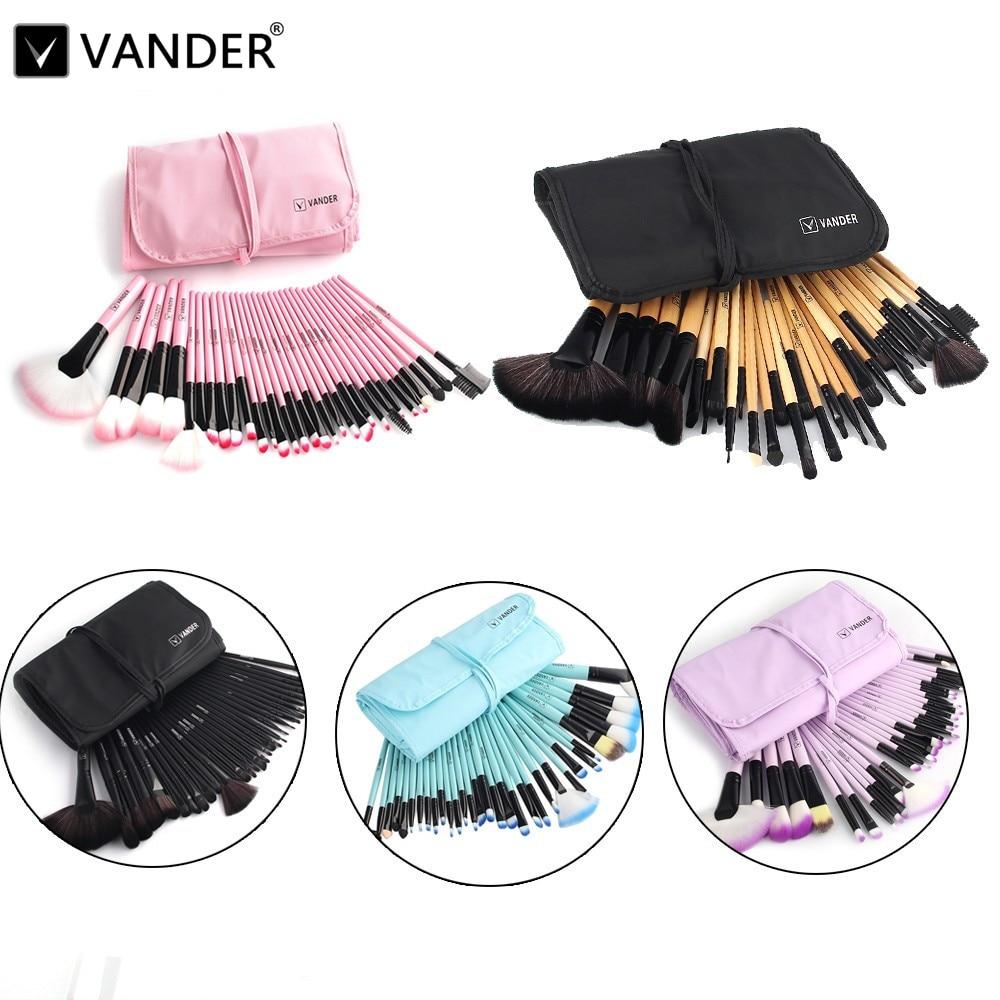 pro vander makeup brushes set 32 pcs pink black blue purple brown pincel maquillage beauty. Black Bedroom Furniture Sets. Home Design Ideas