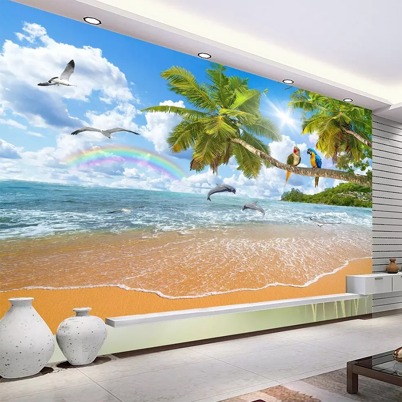 Custom Any Size Wall Cloth 3D Seascape Coco Parrot Landscape Mural Wallpaper Living Room Bedroom Background Wall 3D Home Decor