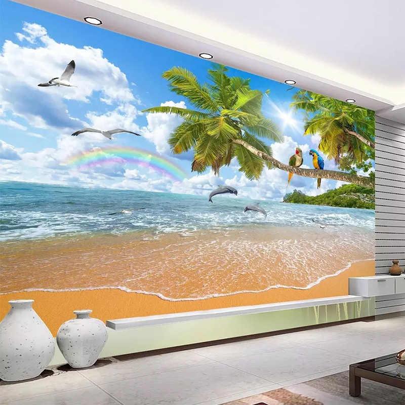 Personalizado cualquier tamaño de tela de pared 3D paisaje marino Coco loro papel pintado de paisaje para pared sala de estar dormitorio fondo de pared 3D decoración del hogar