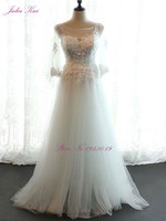 Julia Kui Three Quarter Scoop Neck A Line Wedding Dresses Beading Pearls Appliques Lace Lace Up