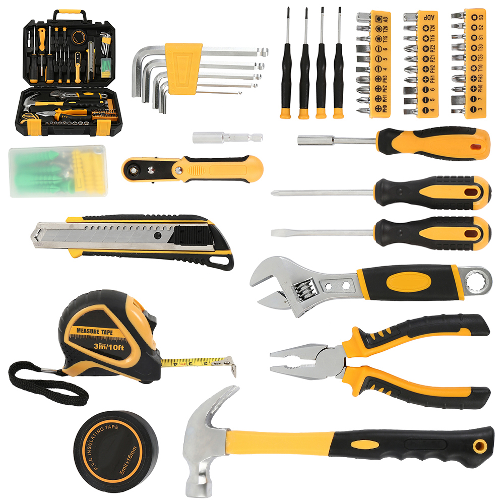 100 Pcs Hand Tool Set General Household Hand Tool Kit with Plastic Toolbox Storage Case Socket Wrench Screwdriver Knife 18 pcs multifunction hand tool set general household hand tool kit with plastic toolbox storage case plier wrench hammer set