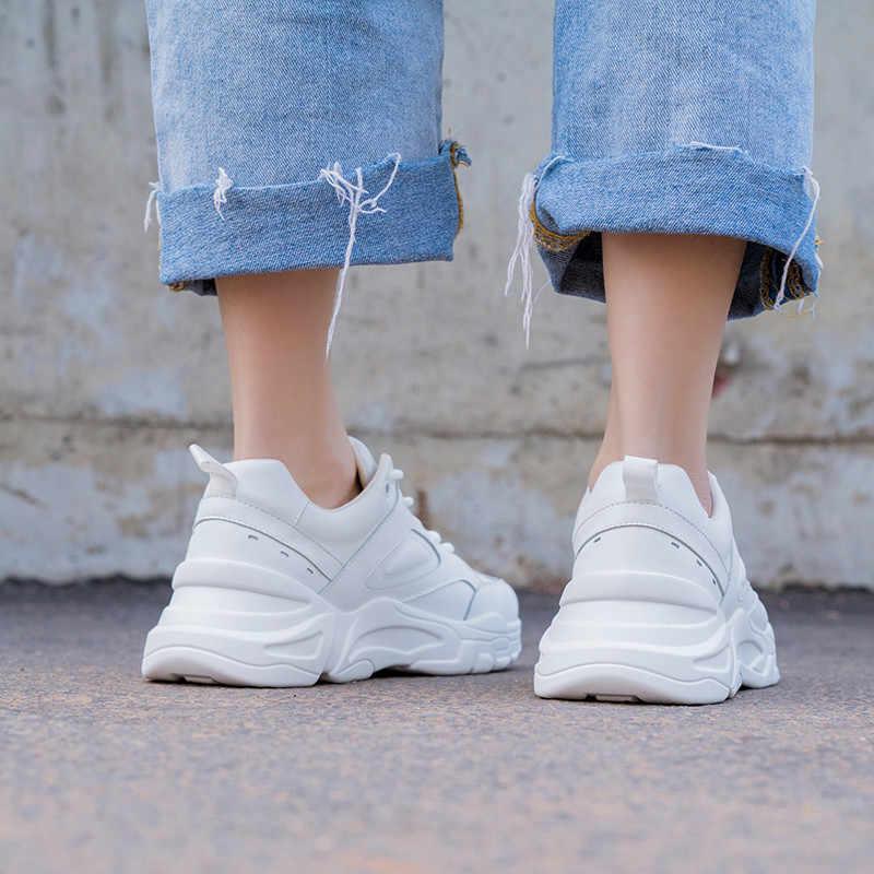 ASUMER mode nieuwe lente herfst schoenen vrouw ronde neus lace up lederen schoenen vrouwen casual flats vrouwen sneakers 2019