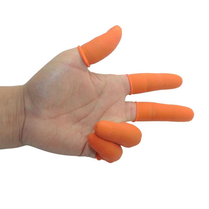 100 개 라텍스 손가락 Golves 오렌지 미끄럼 방지 고무 - 보안 및 보호 - 사진 2