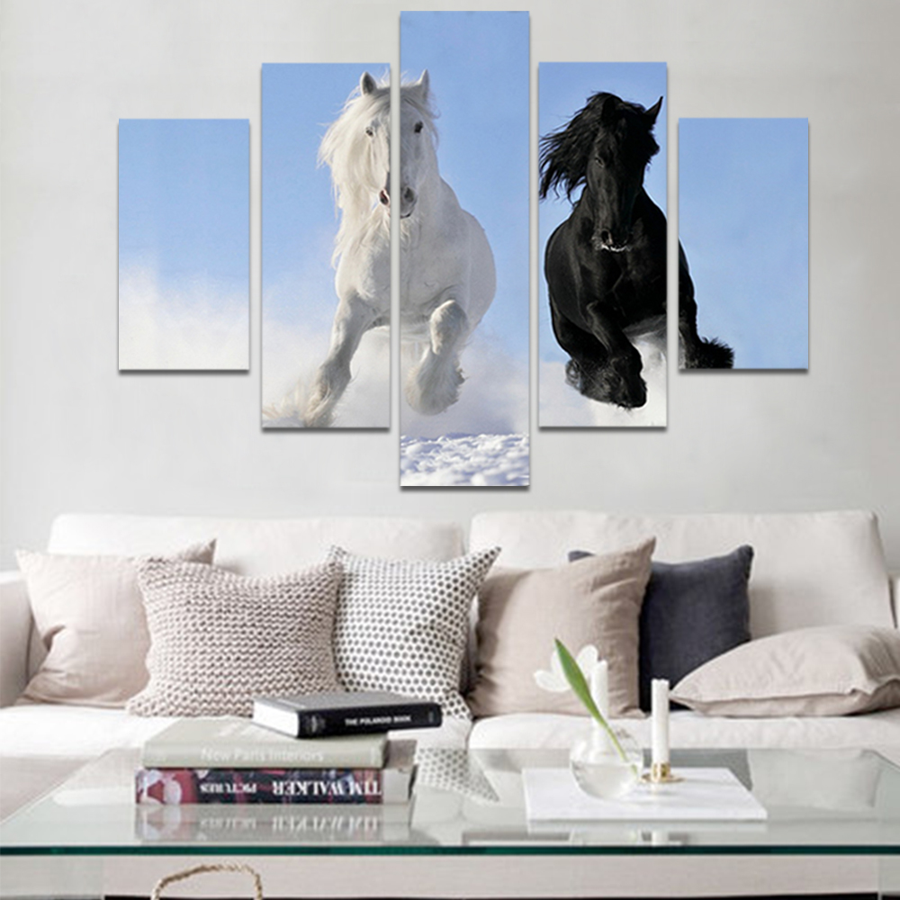 Unframed HD Print 5 Canvas Art Painting Running Horse Living Room Decoration Painting Mural Unframed Custom Made