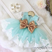 Bling Golden bow Lace mint green flower girl dresses baby 1 year Birthday Party Dress toddler girl pageant dress ball gowns