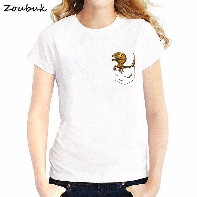 eda85518a Jurassic Park t shirt women harajuku graphic tshirt pocket dinosaur print t- shirt female animal tops tee shirt plus size