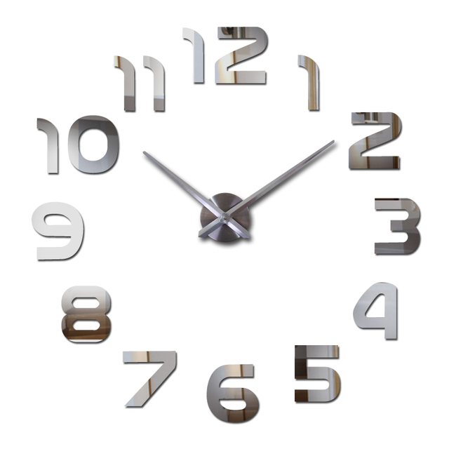 2015 new hot living room wall clock 3d clocks acrylic mirror sticker Needle Modern quartz modern diy mode watch free shipping