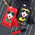 Novo luxo chegada deusa óculos rebite borlas + silicone case capa para iphone 7 7 plus 6 6 s 6 plus de segunda geração case