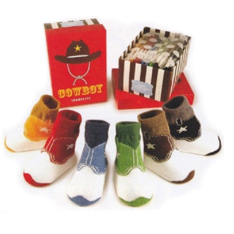 6Pairs Children Zokni Baby Boys cipő csúszásmentes padló cipő - Bébi ruházat - Fénykép 2