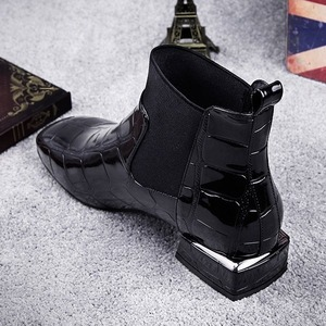 Image 4 - 2020 Chic Vrouwen Laarzen Shiny Pu Leather Herfst Winter Schoenen Vrouw Spuare Teen Blok Hakken Enkellaarsjes Vrouwelijke Botas Zapatos mujer