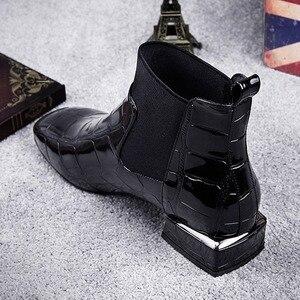 Image 4 - 2020 Chic kobiety buty błyszczące PU skóra jesień zima buty kobieta Spuare Toe blok obcasy botki kobieta Botas Zapatos Mujer
