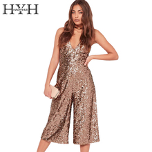 HYH HAOYIHUI V Neck Brown Sequin Strap Jumpsuits Sexy Sleeveless High Waist Overalls Evening Party Club Wide Leg Rompers